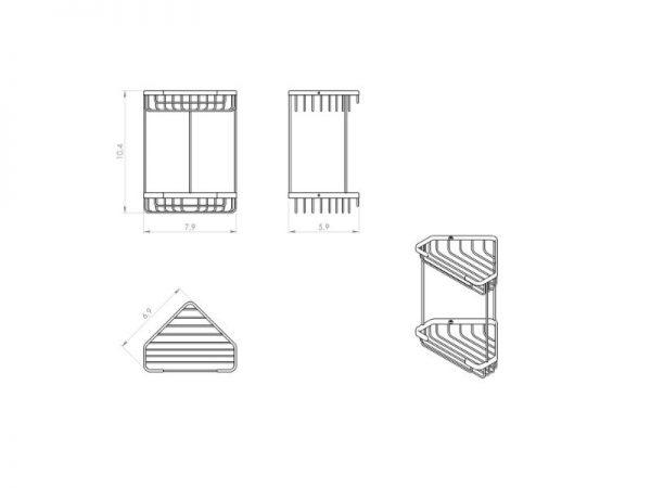 2481 13 Jednostavan moderan držač sapuna žičani dvostruki kutni GEDY