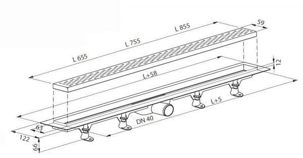 Moderna tuš kanalica 700mm s inox rešetkom PLAST BRNO 1