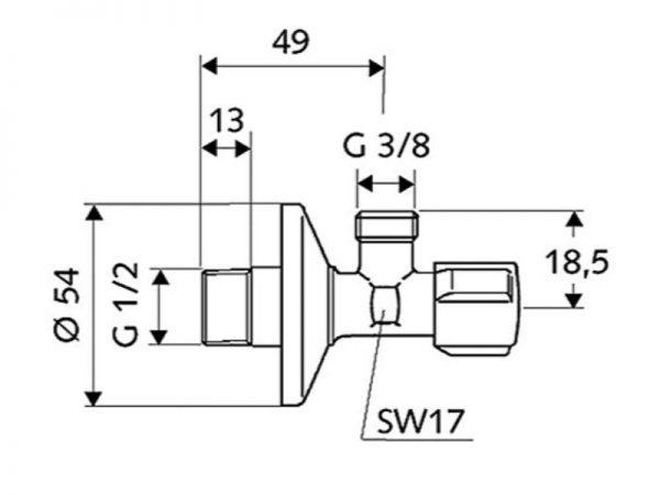 "Kutni ventil 1/2x3/8"" bez holendera SCHELL 52120699"