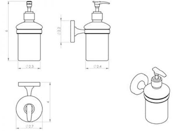 Jednostavan moderan držač tekućeg sapuna GEDY Felce