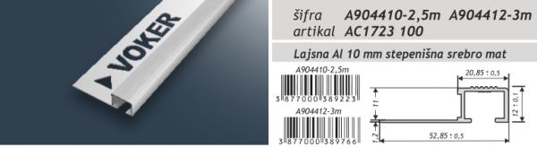 Lajsna aluminijska eloksirana A904410