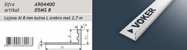 Lajsna aluminijska kutna eloksirana A904400