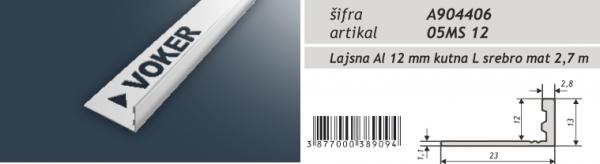 Lajsna aluminijska kutna eloksirana A904406