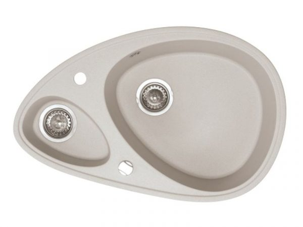 Sudoper ovalni s rupom granit bež METALAC Elipse GR-113013