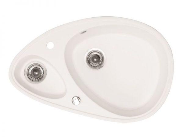 Sudoper ovalni s rupom granit bijeli METALAC Elipse GR-123264