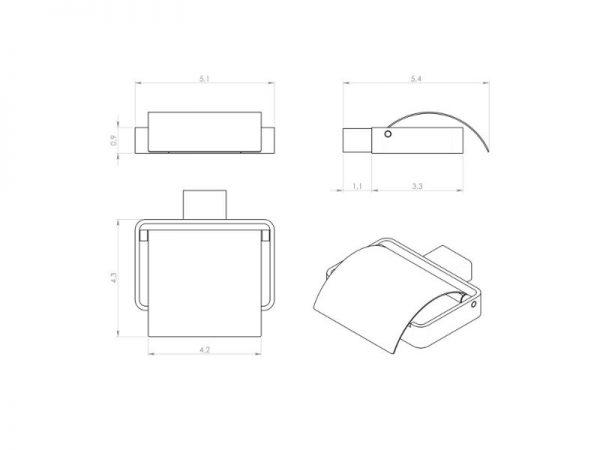 Moderan držač WC papira s poklopcem GEDY Lounge 5425 13