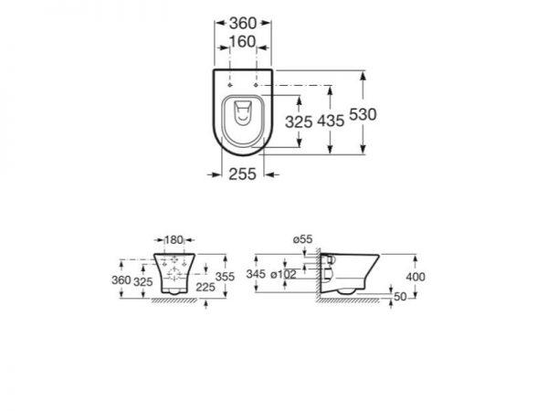WC školjka viseća-clean kompaktna rim ROCA Nexo A34664L000