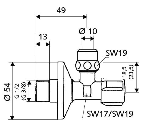 """Kutni ventil 1/2x3/8"""" sa holenderom SCHELL 49070699"""