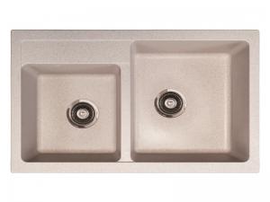 Sudoper pravokutni granit bež METALAC Quadro Plus 2d GR-171006