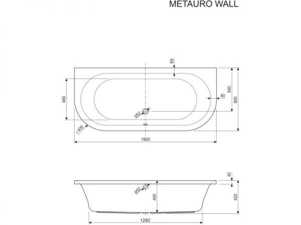 Prostrana ovalna kvalitetna kada Metauro Wall Aquaestil