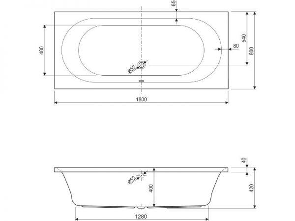 Prostrana pravokutna kvalitetna ovalna kada Metauro Aquaestil