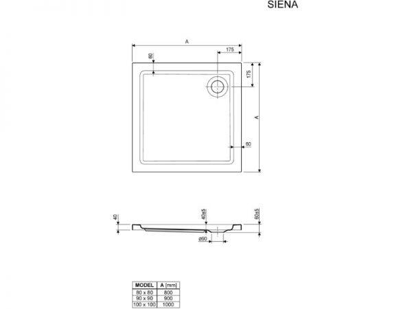 Klasična plitka kvadratna tuš kada Siena Aquaestil