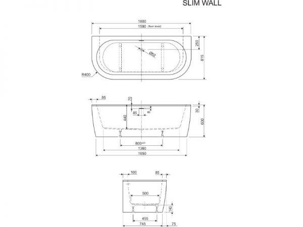 Elegantna kvalitetna kada Slim wall Aquaestil