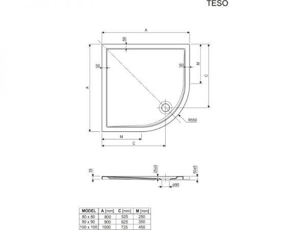 Plitka tuš kada jednostavnog funkcionalnog oblika Teso Aquaesti