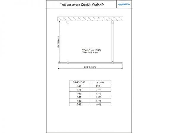 Moderna fiksna staklena stijena Zenith Aquaestil walk-in