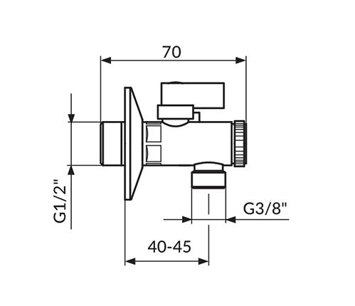 """Kutni ventil 1/2""""x3/8"""" kuglasti sa filterom ROSAN Dark A62D1238"""