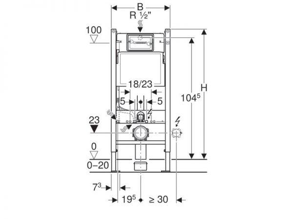 Montažni element 112cm za podžbukni vodokotlić GEBERIT Duofix basic + Delta 20 bijela tipka 458.133.11.1