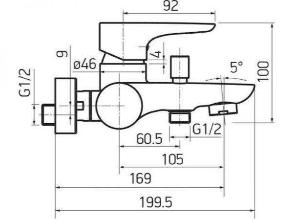 Miješalica (slavina) za kadu VOXORT Dolphin 72100 N11139