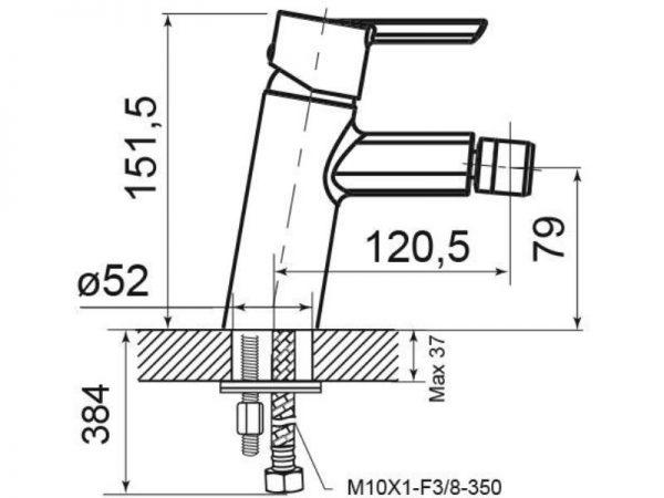 Miješalica (slavina) za bide VOXORT Glem 82400 N12176