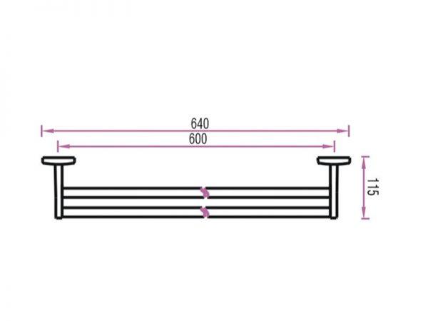 Držač ručnika zidni dupli 60cm 2124DH VOXORT N14544