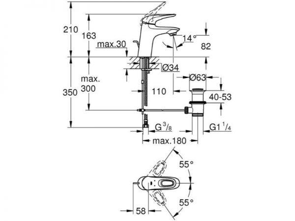 Miješalica (slavina) za umivaonik GROHE Eurostyle NEW 33558LS3 bijela V39332