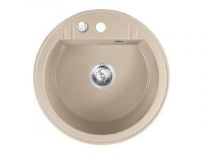 Sudoper okrugli s rupom granit bež+sifon MEZZO II DRGM1/51SA