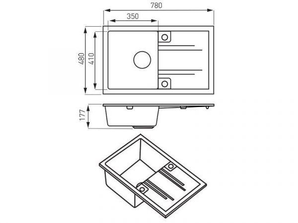 Sudoper pravokutni s rupom granit grafit+sifon MEZZO II crni DRGM48/78BA