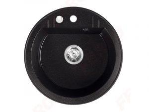 Sudoper okrugli s rupom granit grafit crni+sifon MEZZO II DRGM1/51BA