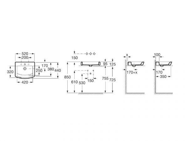 Umivaonik 520x440mm ROCA Hall A327882000