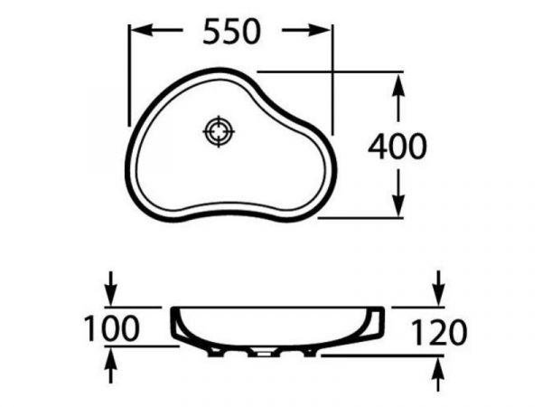 Umivaonik 55x40cm na ploču ROCA Urbi 8 A32722A000