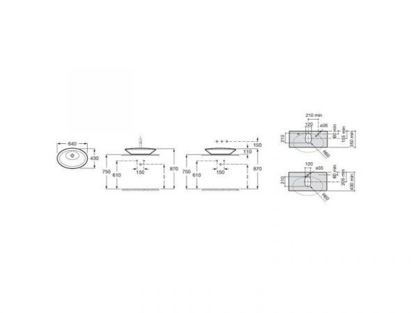Umivaonik 64x43cm na ploču ROCA Urbi 6 A32722B000