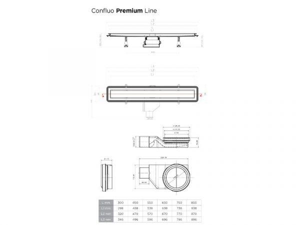 Tuš kanalica 650mm CONFLUO PREMIUM LINE 13000300