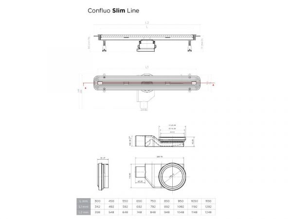 Tuš kanalica 550mm CONFLUO Slim line 13100026: