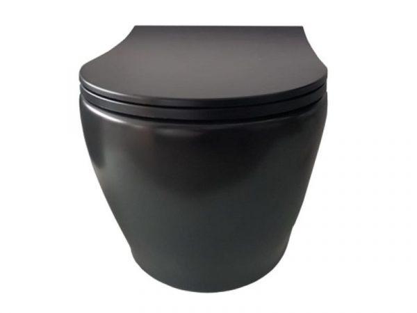 WC školjka viseća bez bočnih otvora RONDO Rimless mat black T-RND 5512 BLACK