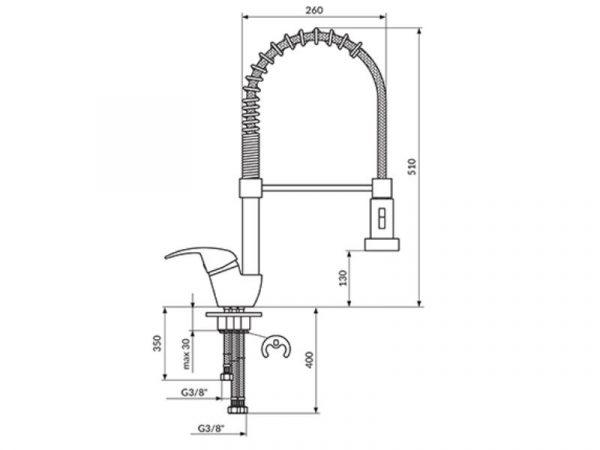 Miješalica (slavina) za sudoper 3 cijevi poluprofesionalna ROSAN King J389003