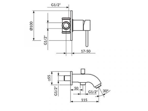 Podžbukna miješalica (slavina) s izljevom i ručnim tušem ROSAN Dark JD31201
