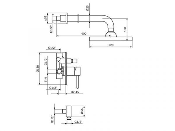 Podžbukna miješalica (slavina) s zidnim i ručnim tušem ROSAN Dark JD31601