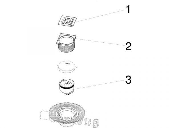 Sifon podni 100x100mm sa sigurnosnim zaporom mirisa DN 50 VIEGA 583217