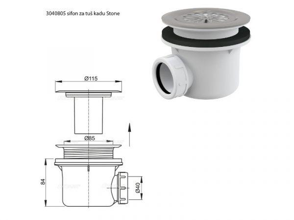 Sifon + crijevo za tuš kadu MM Stone AQUAESTIL 3040805+3040800