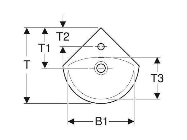 Umivaonik 41,4x16.4x41.2cm kutni GEBERIT CER Selnova 500.326.01.1