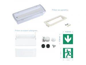 Panik svjetiljka (lampa) LED-EME-507L50-AC220-24V-4.4W-4000K-4 00lm-IP65-Non Maintained