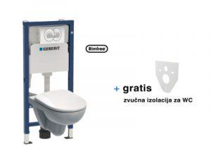 Ugradbeni vodokotlić, tipka i WC viseći sa sjedalom GEBERIT Delta20 Kolo Idol Nera sofclose set