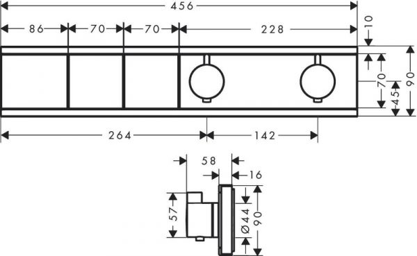 Podžbukna miješalica (slavina) za tuš termostatska HANSGROHE RainSelect FS s 2 funkcije zlatna 15380990