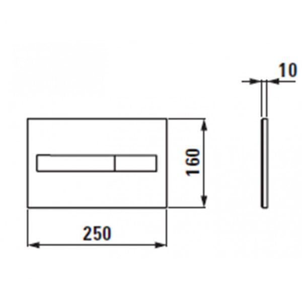 Tipka za ugradbeni vodokotlić dvostruka LAUFEN AW1 mat crna 9566.1.716.000.1