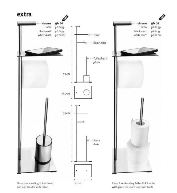 Držač WC četke samostojeći EXTRA matt black 96 62 55