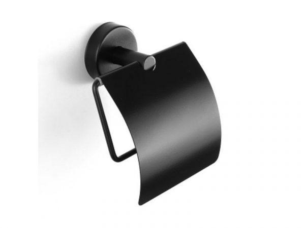 Držač WC papira s poklopcem UNO matt black 14 03 55